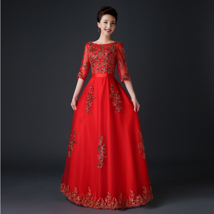Aliexpress.com : Buy ladies long modest half sleeved evening lace ...