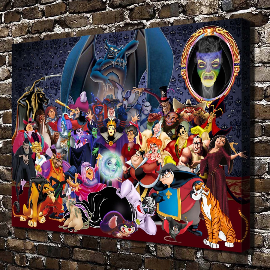 A3367 Fairy Princess Mickey Mouse Witch Cartoon Hd Canvas