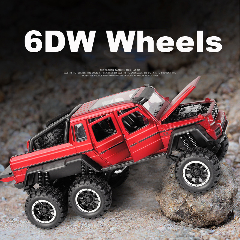 1:32 6WD Diecast metal G63 Off Road SUV Car Model Vehicles G 63 6X6 Wheels baby kids toys for children NOT RC image