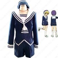 Anime Fruits Basket Sohma momiji Cosplay Costume custom made coat+ shorts + bow tie+hat