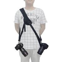 Mcoplus correa de hombro rápida correa solo hombro sling negro almohadilla de esponja con para canon nikon sony dslr con 2 cámaras