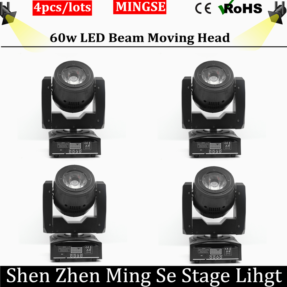 4pcs/lots LED Beam 60w Moving Head Light Spot Light with Rotation Function for DJ Disco Stage Projector Professional stage light niugul dmx stage light mini 10w led spot moving head light led patterns lamp dj disco lighting 10w led gobo lights chandelier