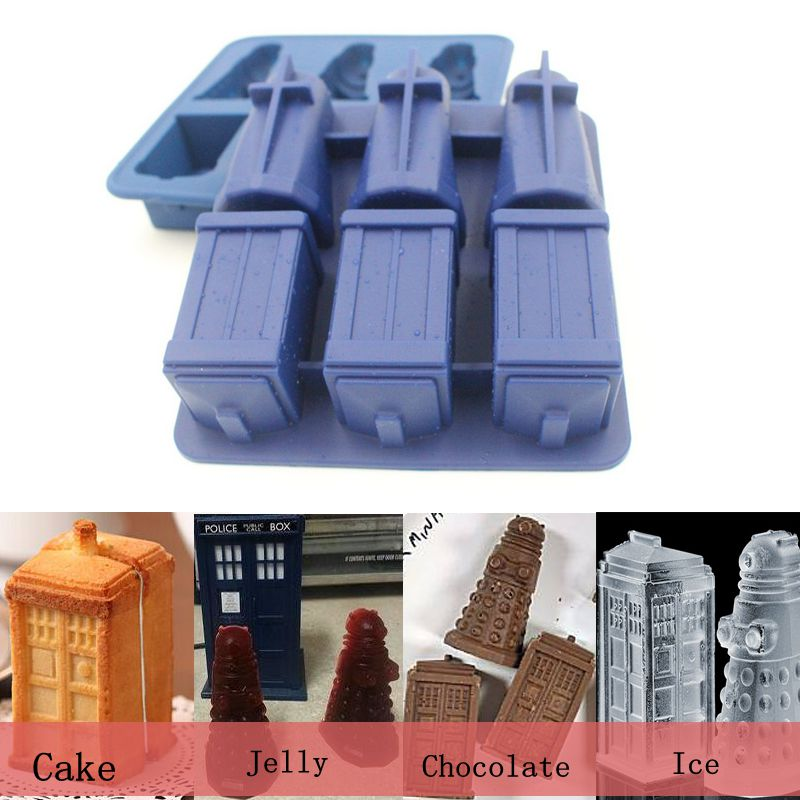 baking decorating Doctor Who Daleks Tardis & Sonic Screwdriver silicone bakeware pastry design silicone cake mould free shipping