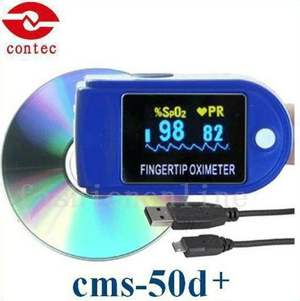 CONTEC CE/FDA Fingertip Pulse Oximeter Spo2 Monitor +PC Software 24Hours,CMS50D+ cms50d pulse oximeter