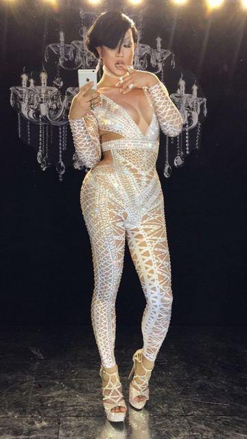 New full diamond glittering sexy tight-fitting jumpsuit female singer dance team ds hosting costume party celebration birthday