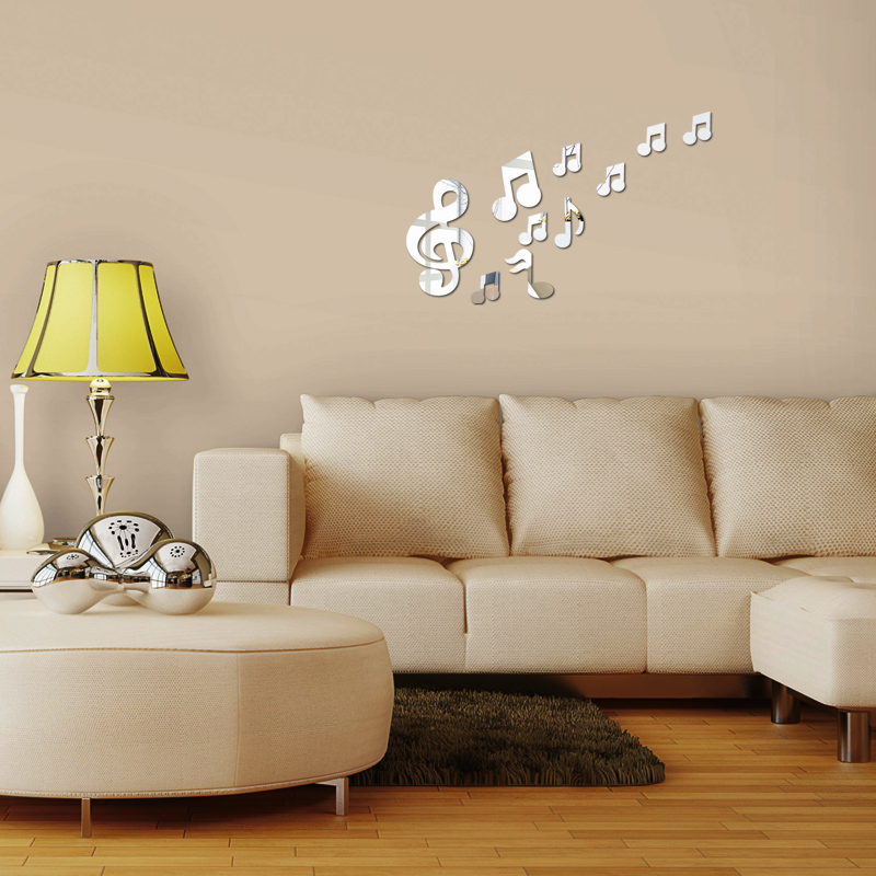 2017 Surface Sticker Romantic Music Note Acrylic Mirror Diy 3d Wall  Stickers Home Decorative Mural Decal Sticker Home Decor In Wall Stickers  From Home ...