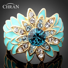Chran Elegant Enamel Blue Floral Wedding Rings for Women Fashion Crystal Rings Jewelry Accessories