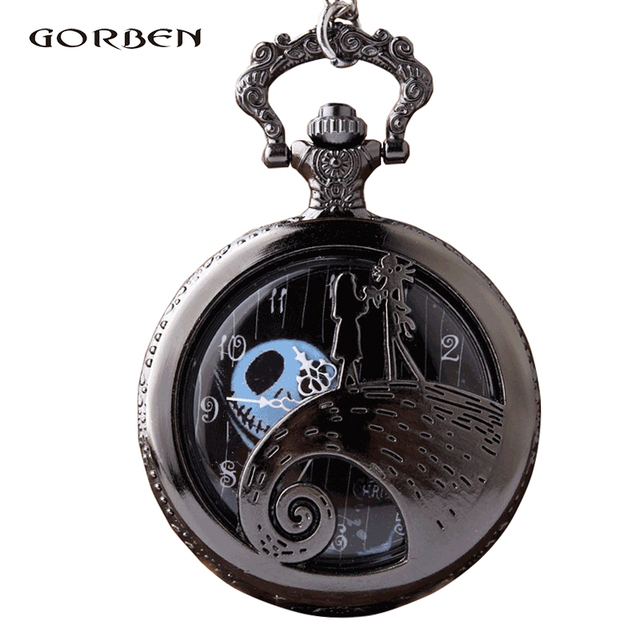 Steampunk The Nightmare Before Quartz Pocket Watch Christmas Jack Skellington Ti