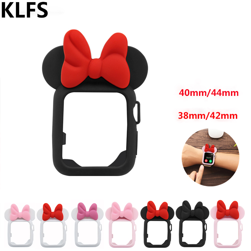 KLFS for Apple Case Series 4 3 2 1 38 42mm 40 44mm Strap Cover iWatch Silicone Design with Bow