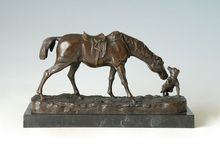 ATLIE Bronze War horse European horses with little dog Sculptures Statue Animal Home Office Decoration