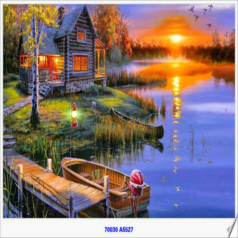 Handmade Needlework Diy Diamond Painting Kit Diamond Embroidery A View Of The River And The Fire