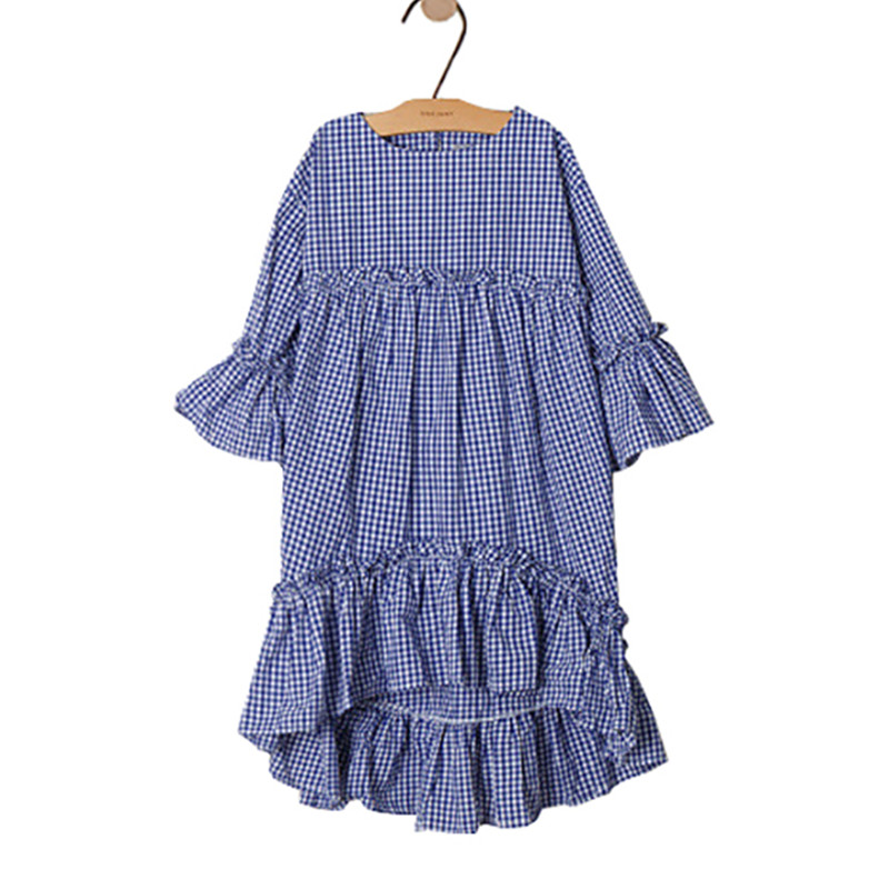 все цены на 4 to 14 years kids & teenager girls summer plaid ruffle asymmetrical cotton causal dress children fashion flare sleeve dresses