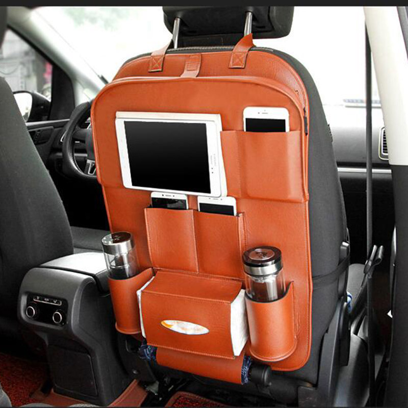 Cuero Asiento trasero del coche Organizador Bolsillos Plegable - Accesorios de interior de coche - foto 3