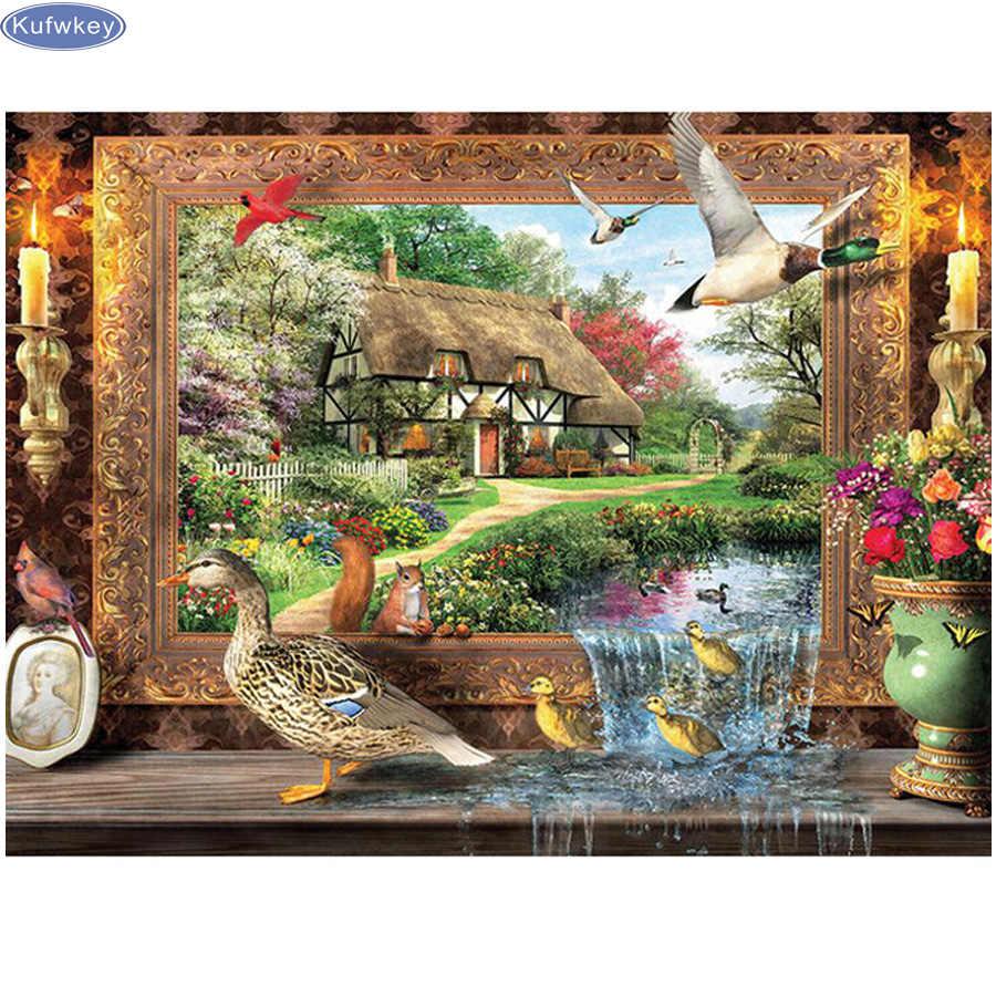 Diamond Embroidery Landscape Resin Rhinestones Full Round Drill for Living Room Decor Diamond Painting Mosaic Handicraft 60X80CM