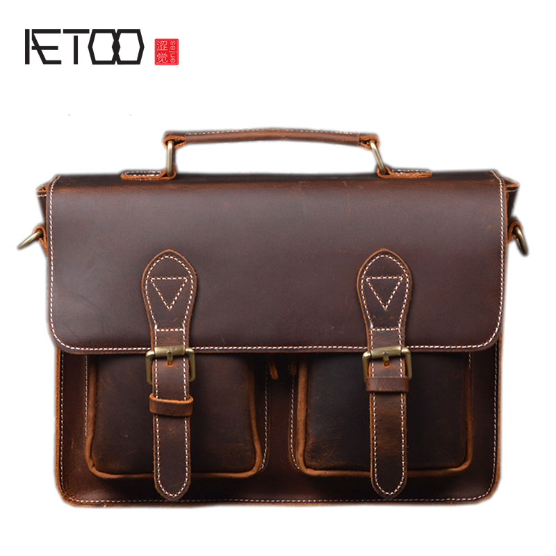 AETOO Original handmade crazy horse briefcase men first layer leather leather computer bag handbag male mad horse skin bag briefcase men s style leather casual male mad horse skin retro brown leather men s business package handbag 2017 the latest