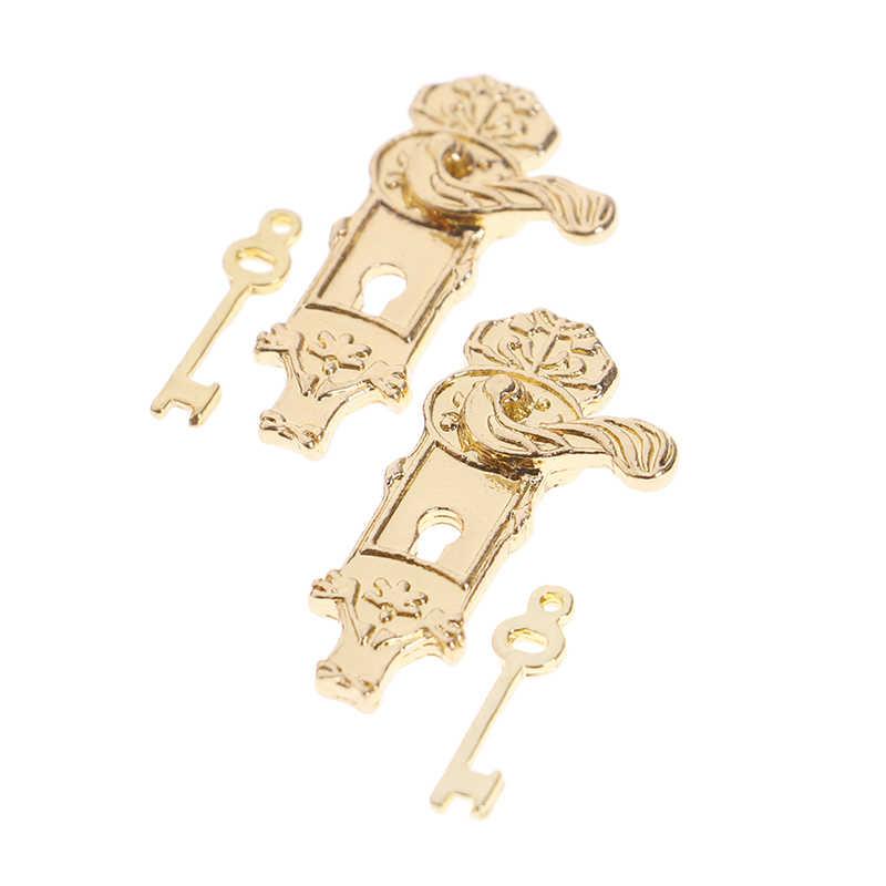 DIY Accessories 1/12 Scale Miniature Vintage Door Lock and Key/White Ladder/Honey Pot/Tableware/Perfume/Food Bottle/ Dollhouse