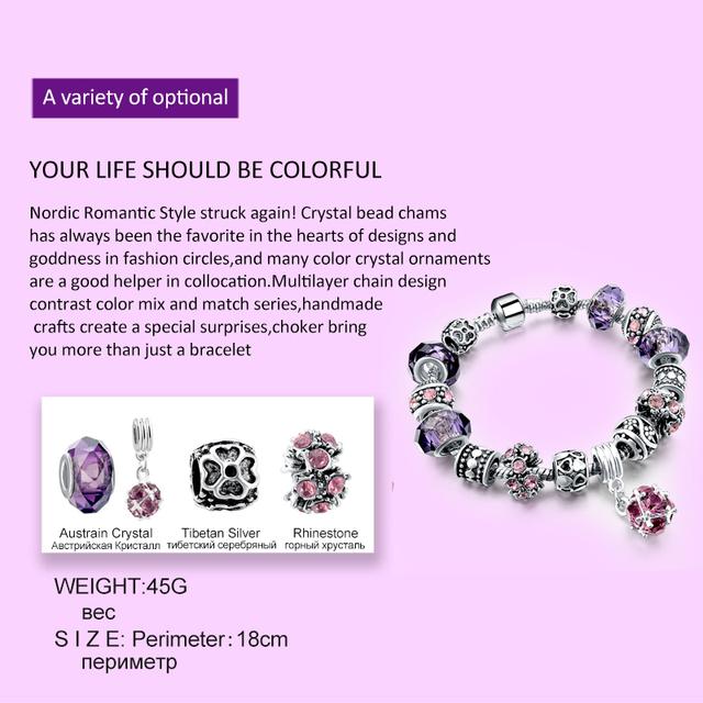 925 Silver Crystal Bracelet DIY Alloy + Silver Plated