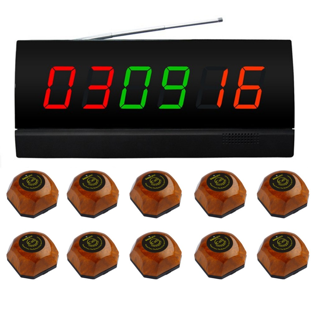 SINGCALL wireless table calling button,10 brown single call bell and 1 display for restaurant,coffee shop and so on, 2 receivers 60 buzzers wireless restaurant buzzer caller table call calling button waiter pager system