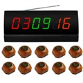SINGCALL wireless table calling button,10 brown single call bell and 1 display for restaurant,coffee shop and so on,