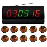 Singcall беспроводной настольный кнопку вызова, 10 Коричневый Один звонок и 1 дисплей для ресторана, кафетерий и так далее,