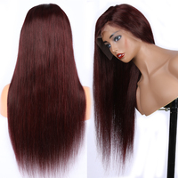 99j Red Lace Front Wigs Human Hair Straight 13x6 Deep Part Pre Plucked Hairline with Baby Hair Brazilian Non Remy Hair Xcsunny