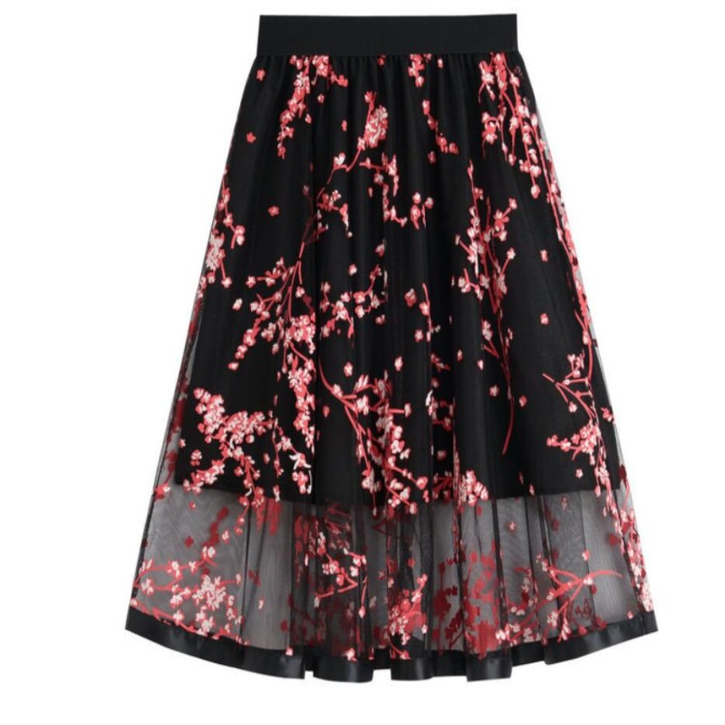 Skirts 2018 Womens Elastic Waist High Velvet Long Pleated Skirt Bright Surface Black Pink Dark brown 3 Color 870