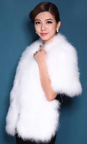 Женская Роскошная шаль из натурального страусиного пера, шаль из пашмины, свадебная шаль, Модный меховой палантин, роскошный шаль, PC15052301 - Цвет: white