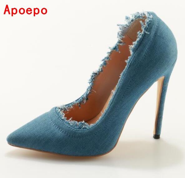 Newest 2017 Blue Denim Crystal High Heel Pumps High Platform Pointed Toe Jeans Elegant Party Dress Shoes For Women guess shoes jeans pumps