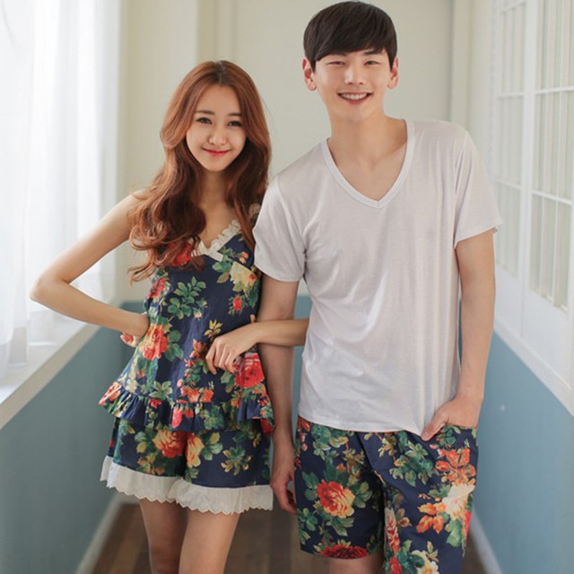 Summer Pyjamas Men Cotton Nightgown 2 Piece Of Couple Short Sleeve Nightdress For Men And Women Sleepwear Home Pajama Sets