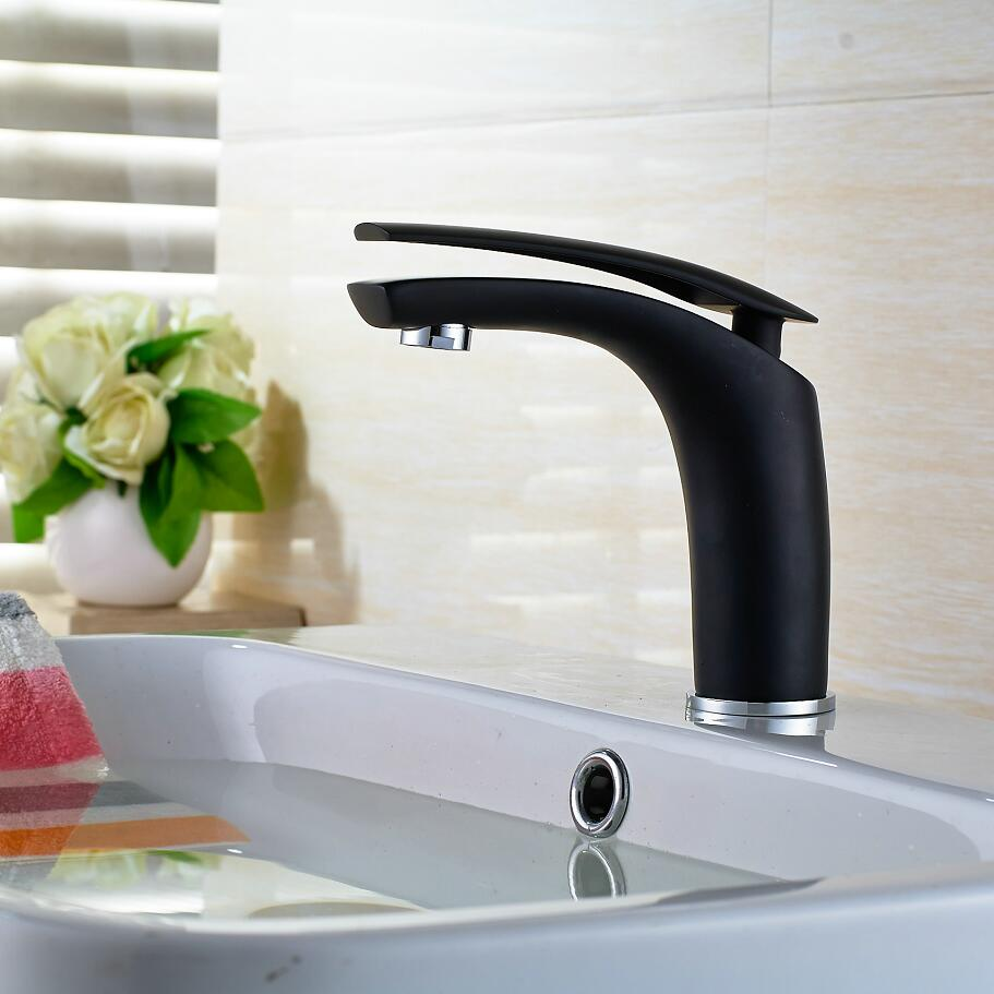 New basin Faucet Hot sell Brass Black Baking finish bathroom Crane / Fashion Hot and Cold Water Mixer Tap Black tap Basin mixer bathroom brass water automatically sense faucet basin mixer hot and cold tap modern design high quality