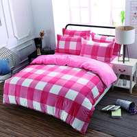 Flannel Fleece Twin Queen King Size Winter Bedding Sets Soft Warm Bedclothes Pink White Plaid Stripe
