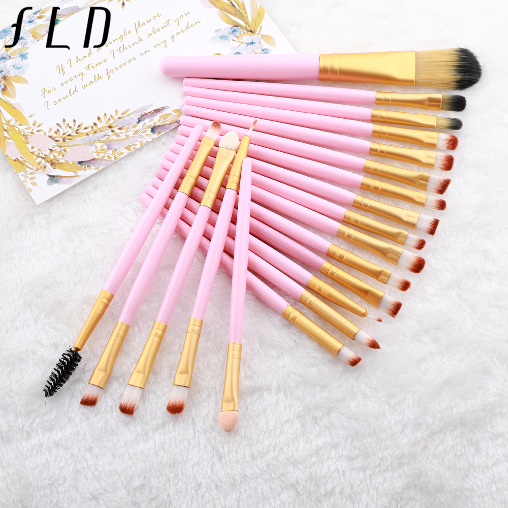 FLD 20 Pieces Makeup Brushes Set Eye Shadow Foundation Powder Eyeliner Eyelash Lip Make Up Brush Cosmetic Beauty Tool Kit 5