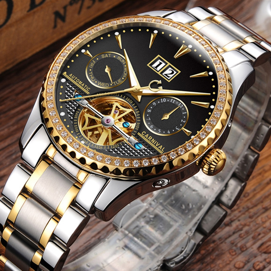 цена на Luxury Diamonds Gilded Automatic Watch Men Sapphire Glass 25 Jewels Movement Tourbillon Stainless Steel Women's Watches reloj