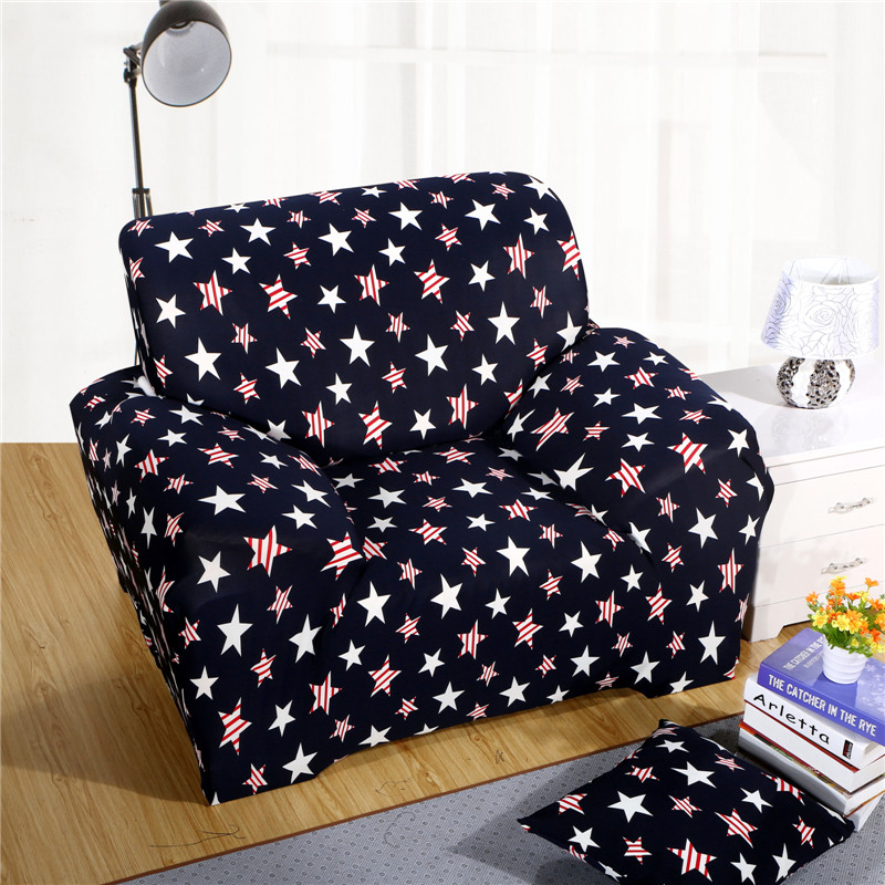 SunnyRain Navy Blue Stars Polyester Elastic Sofa Cover Printed Sectional Sofa  Cover Sofa Slipcover Couch Cover Machine Washable In Sofa Cover From Home  ...
