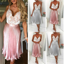 Womens Pleated Elastic High Waist Shiny Metallic Party Swing Midi Dress