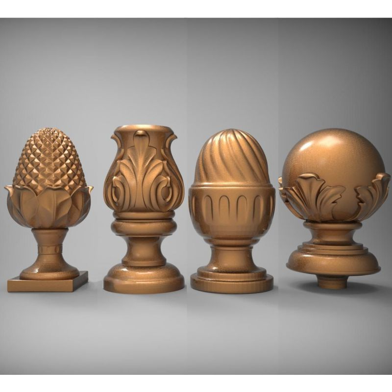 4PCS Baluster Head 3d Model STL Relief For Cnc STL Format Baluster 3d Model For Cnc Stl Relief Artcam Vectric Aspire