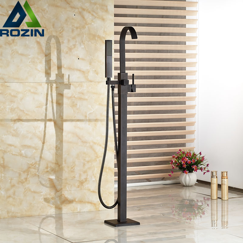 Modern Freestanding Bathtub Faucet Tub Filler Oil Rubbed Bronze Floor Mount with Handshower Mixer Taps oil rubbed bronze waterfall tub mixer faucet free standing floor mount bathtub faucet with handshower
