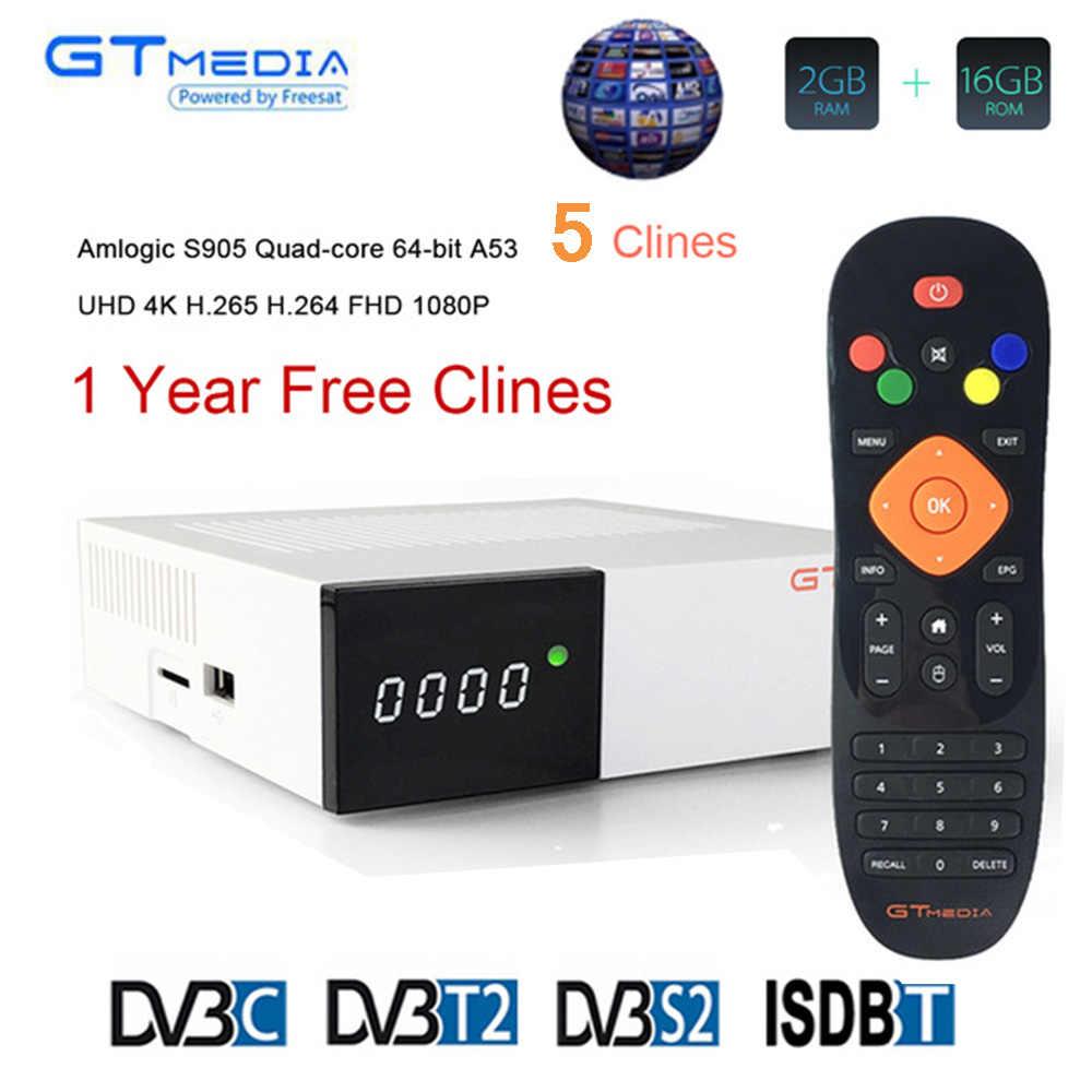 Gtmedia GTC DVB-S2/T2/C Récepteur Satellite de télévision Android avec 1 An L'europe ccam 5 clines Full HD IPTV 4k Espagne Pologne ROYAUME-UNI Allemagne