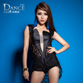 2016 New Fashion Jazz harem ds women hip hop dance  costume performance wear Sexy Lace faux leather patchwork  coverall Bodysuit