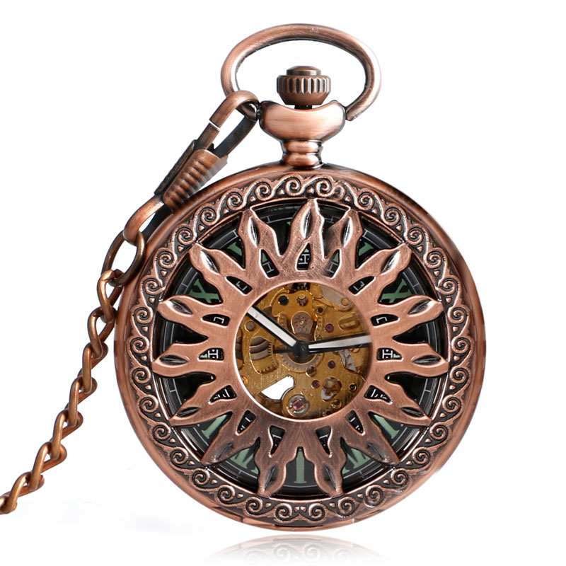 Antique Retro Copper Sun Design Men Pocket Watch Mechanical Self Wind Skeleton Blue Roman Numbers Fob Watches Women Clock Gift