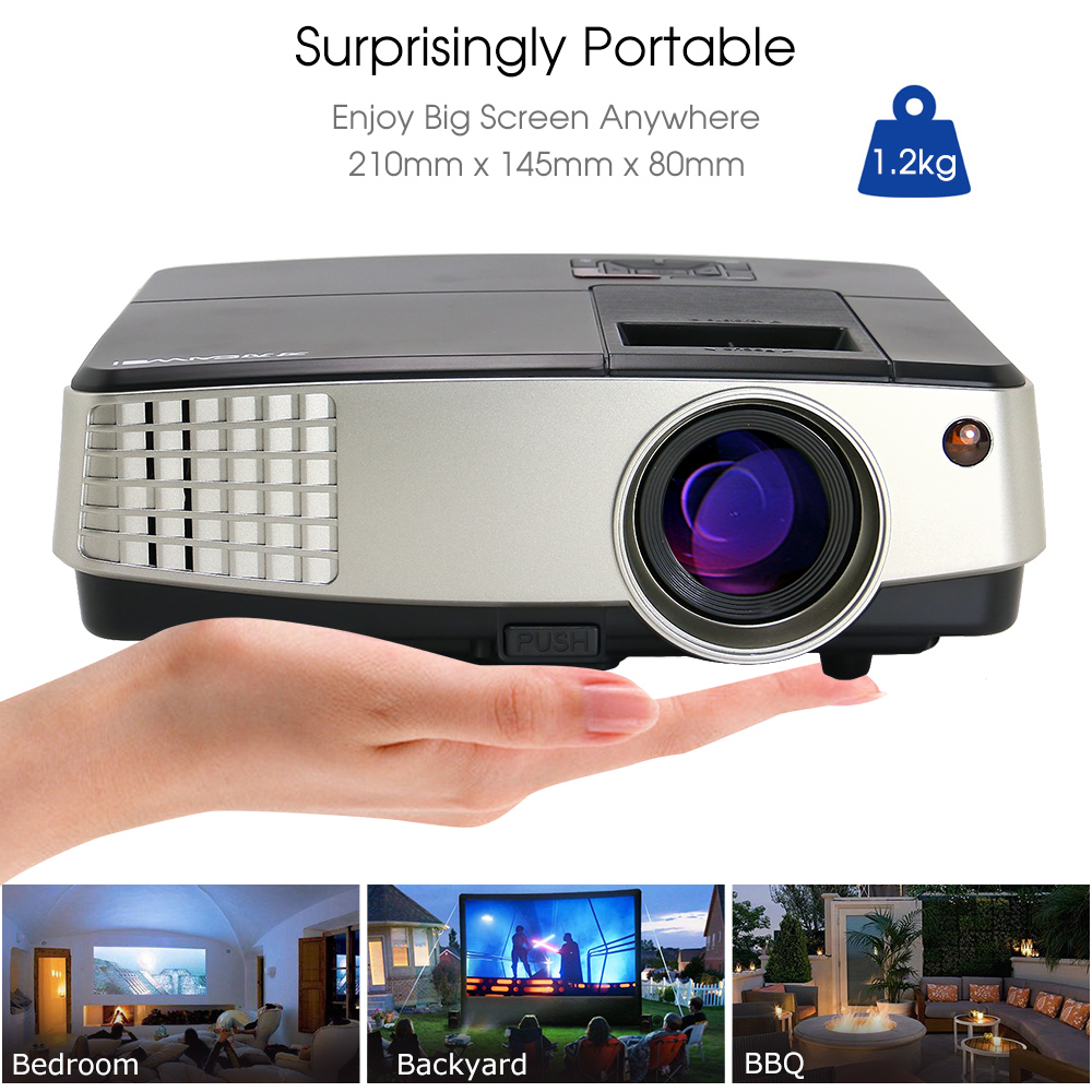 1080P Mini Portable LCD Home Theater Projector HD LED Projector Movie Video Game Party 2018 World Cup HDMI USB Proyector Beamer 2016 new lcd mini projector max 1080p led home theater entertainment system digital video projection unit portable white black