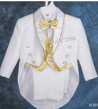 Little Boy Tuxedo/Baby Boy Clothes/Gentleman Bowtie Baby Boys 5-piece Suit Set 118A
