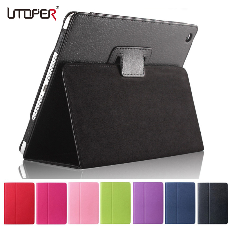 For ipad Air Case Air 1st Litchi Flip Folio PU Leather Smart Sleep Wake Up For Apple New ipad 5 Retina Stand Holder Cover smart cover case for ipad kaku original official leather ultra thin stand cases for apple ipad air 1 2with wake up free shipping