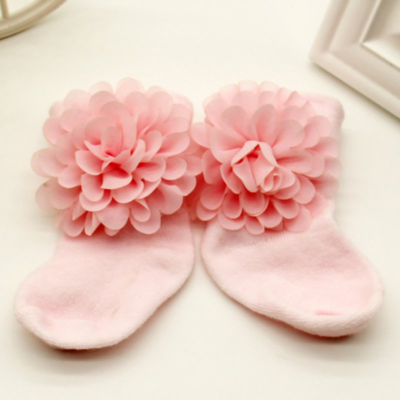 1Pair Of 0-6 Months Toddlers Infants Cotton Ankle Bow Socks Baby Girls Princess Bowknots Socks Anti Slip Lace Floral Shoes