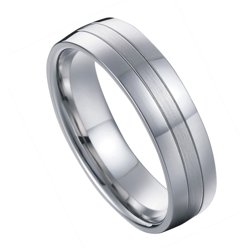 Titanium nakit poročni pas moški obletnica modni prstan belo zlato - Modni nakit - Fotografija 6