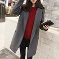 2016 Новые женские Зимние Пальто Шерсти Женщин Верхняя Одежда Пальто Серый Синий плюс Размер Пальто Для Женщин Abrigos Mujer Дамы Jassen S-XL L344