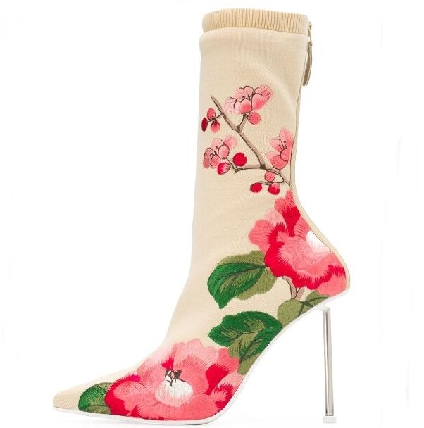 Newest 2019 Flower Print Knit Socks Boots Shoes Pointed Toe Silver Metal Heels High Stiletto Boots Sexy Women Runwat BootieNewest 2019 Flower Print Knit Socks Boots Shoes Pointed Toe Silver Metal Heels High Stiletto Boots Sexy Women Runwat Bootie