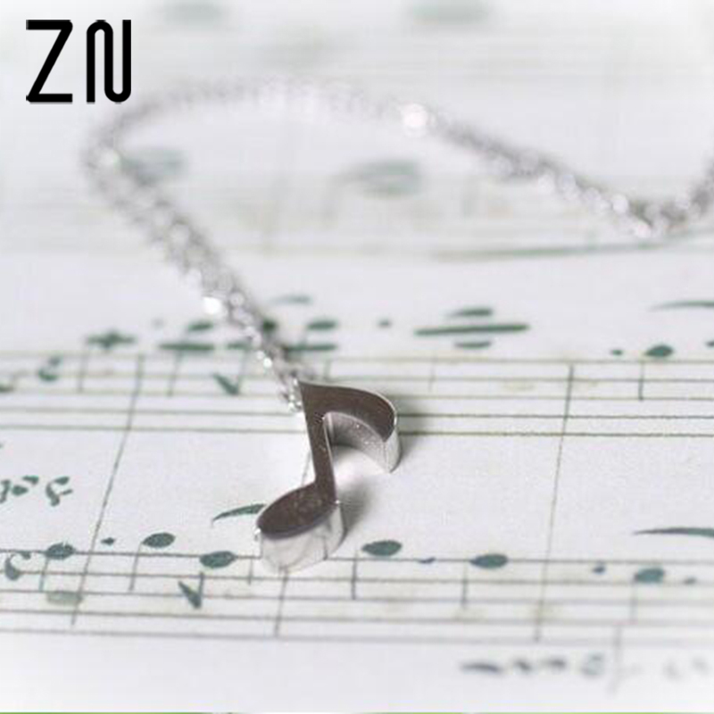 ZN New Musical Notes Women Necklace Musical Notes Necklace Individuality Music Symbol Pendant Necklace For Girls image