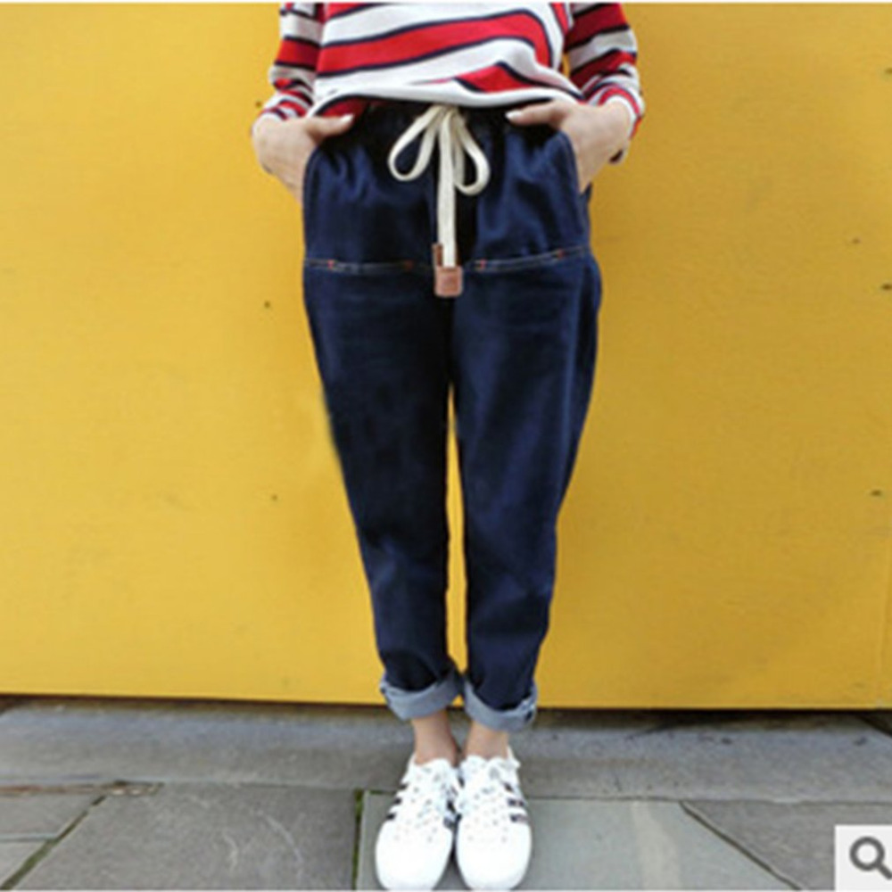 Spring Women Harem Pants Denim Blue Color Elastic High Waist Loose Jeans Trousers Casual Female Full Length Harem Pants