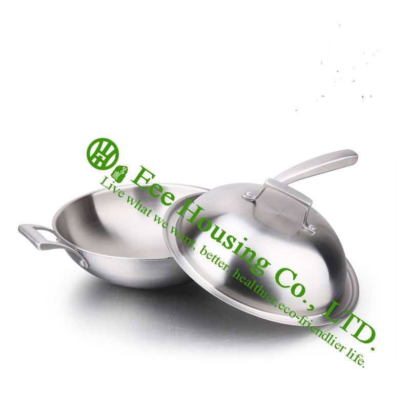 stainless steel woks cookware kitchenware free shiping hotsale